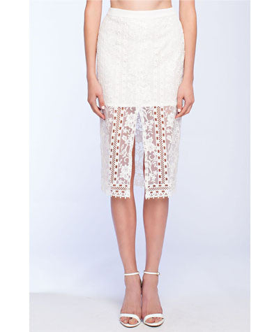 Sheer Lace Pencil Skirt