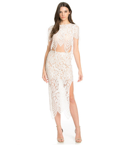 Lace Crop Top/Midi Skirt Set White
