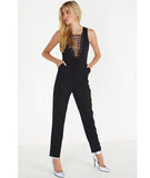 Lace Up Plunge Jumpsuit
