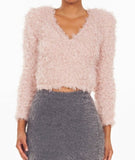 Furry Low V Neck Sweater Pink