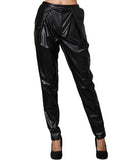 Leatherette Front Pants