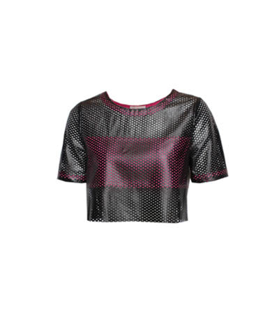 Perforated Cropped Tee Pink