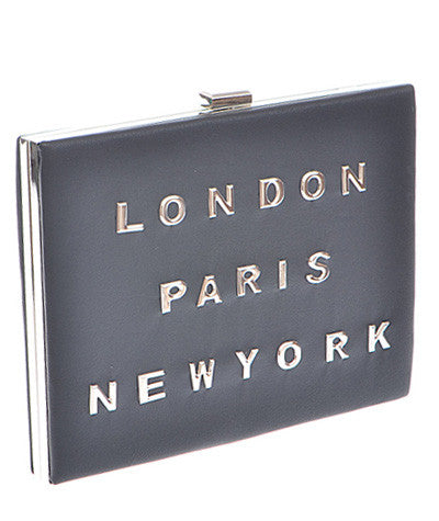 London/Paris/New York Hardback Clutch Black