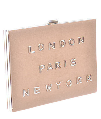 London/Paris/New York Hardback Clutch Nude
