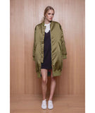 Long Bomber Jacket Green