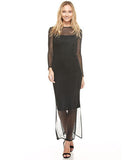 Long Sleeve Chain Mesh Dress Black