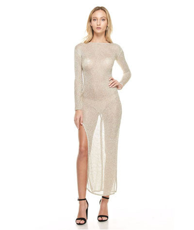 Long Sleeve Chain Mesh Dress Gold