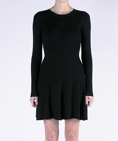 Long Sleeve Skater Dress Black