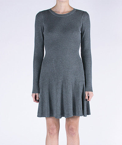 Long Sleeve Skater Dress Gray