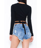 Long Sleeve Deep V Crop Top Black