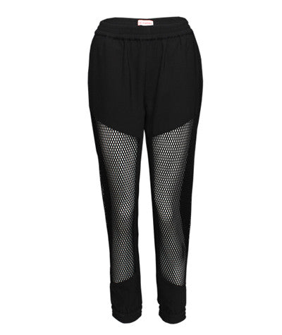 Mesh Front Joggers Black
