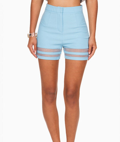 High Waist Mesh Detail Shorts Blue