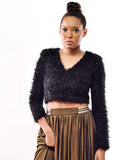 Metallic Furry Sweater
