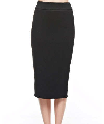Neoprene Pencil Skirt Black