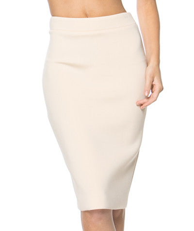 Neoprene Pencil Skirt Nude