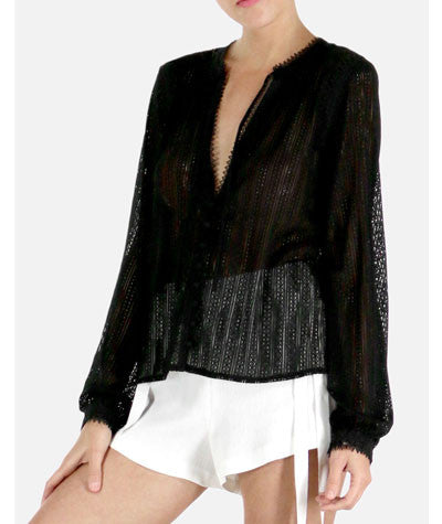 Netted Long Sleeve Top