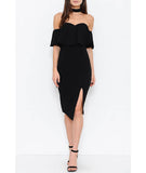 Off The Shoulder Midi Dress w/ Choker