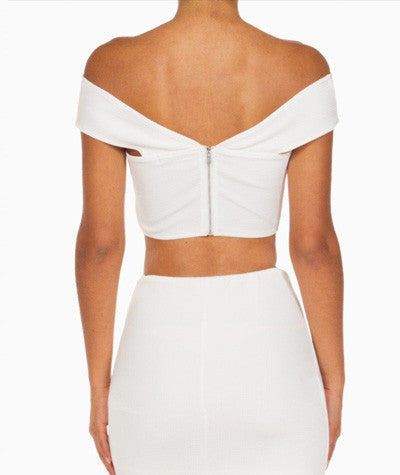 Off the Shoulder Crop Top White