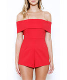 Off the Shoulder Romper Red