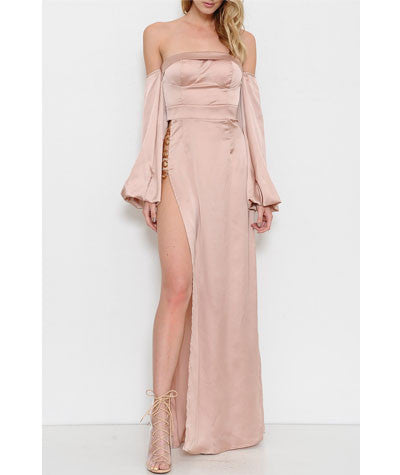 Off the Shoulder High Slit Dress Rose