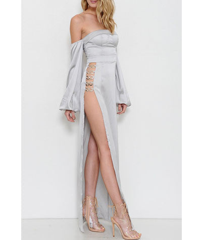 Off the Shoulder High Slit Dress Ibiza