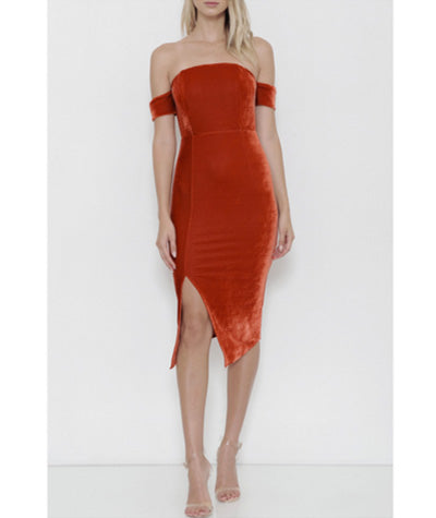 Velvet Armband Bodycon Dress Burnt Orange
