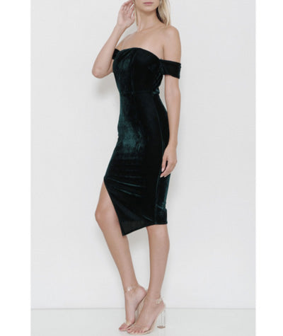 Velvet Armband Bodycon Dress Hunter Green