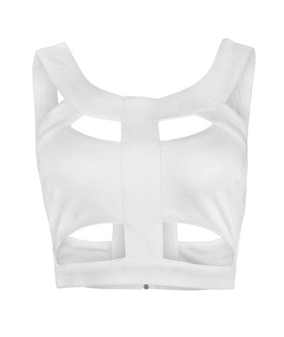 Peekaboo Crop Top White
