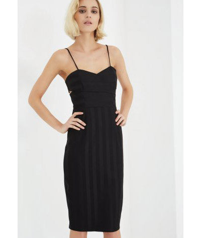 Pinstripe Bodycon Dress Black