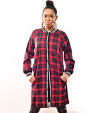 Plaid Button Up Dress Red