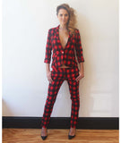 Plaid Trousers Red