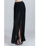 Pleated Double Slit Skirt Black