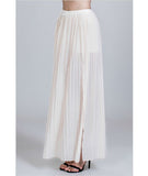Pleated Double Slit Skirt Nude