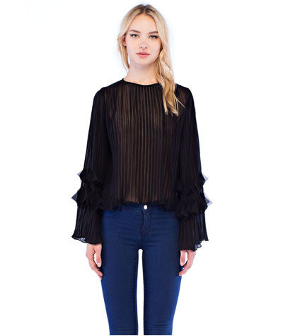 Sheer Pleated Blouse Black