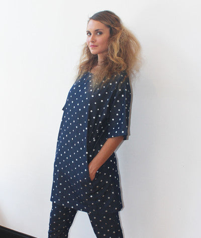 Polka Dot Denim Shirt Dress