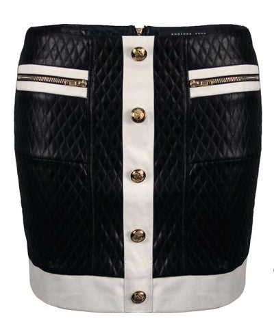 Quilted Mini Skirt Black