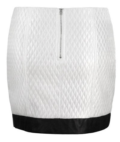 Quilted Mini Skirt White