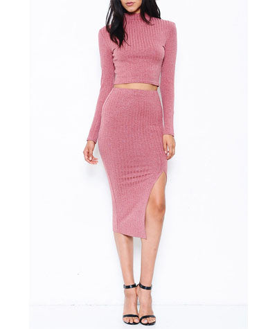 Long Sleeve Crop Top w/ Midi Pencil Skirt Set