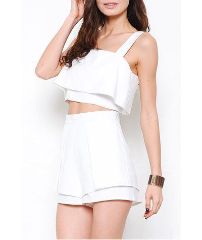 Ruffle Crop Top and Shorts Set White
