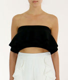 Ruffled Crop Top Black