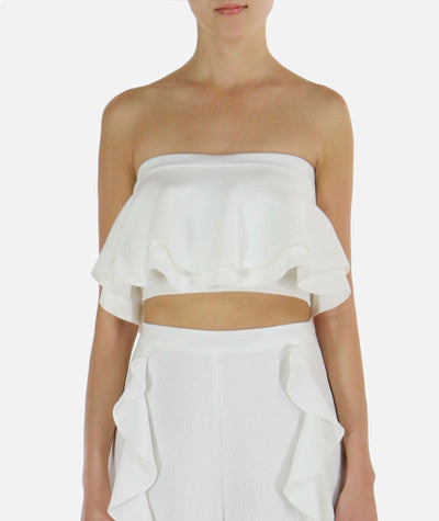 Ruffled Crop Top White
