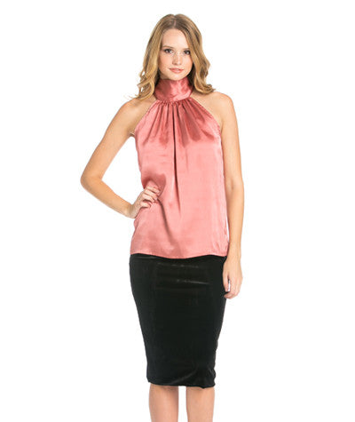 Satin High Neck Halter Blouse Rose