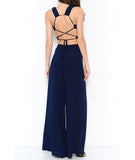 Scalloped Crop and Front Slit Pants Set Navy