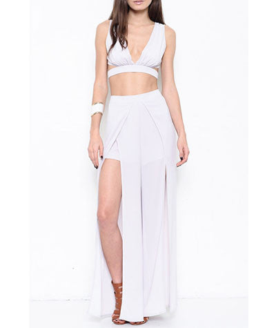 Scalloped Crop and Front Slit Pants Set Grey