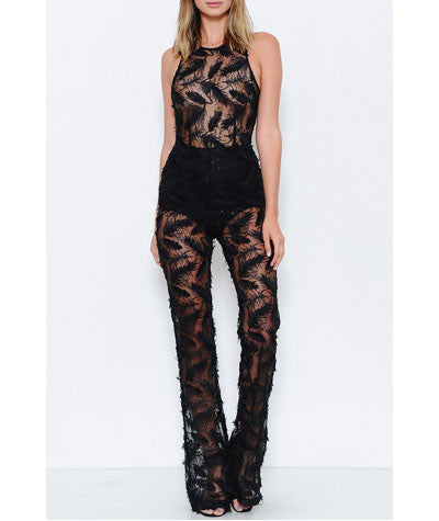 Feather Sequins Jumpsuit