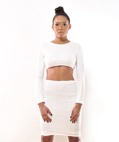 Sequins Long Sleeve Crop Top White