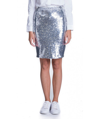 Sequins Pencil Skirt Silver