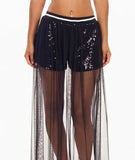 Sequins & Tulle Shorts Black