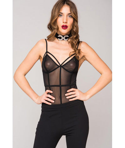 Sheer Panel Bodysuit Black