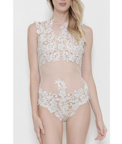 Sheer Lace Bodysuit Set White